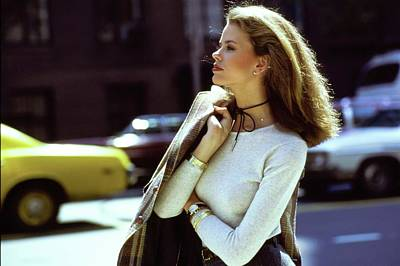Photograph - Lisa Taylor Wearing A White Sweater by Arthur Elgort