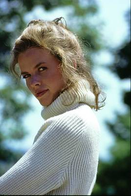 Photograph - Lisa Taylor Wearing A White Turtleneck by Arthur Elgort