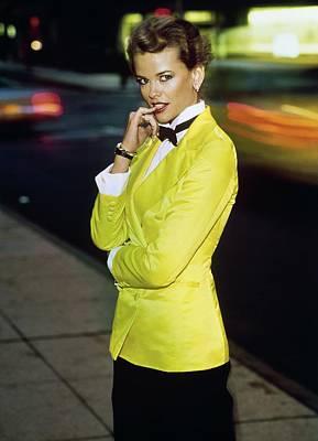 Photograph - Lisa Taylor Wearing A Yellow Blazer by Arthur Elgort