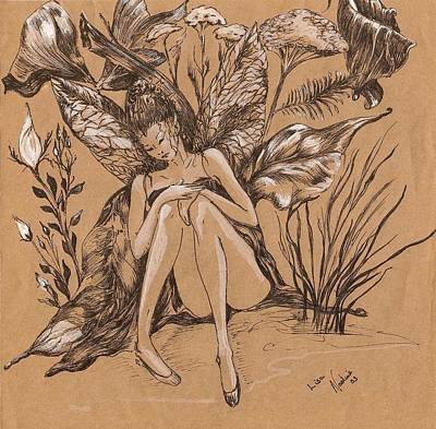 Art Print featuring the drawing Lisanthius by Nadine Dennis