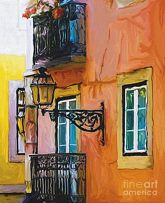 Gas Lamp Painting - Lisboa Balcony by Ted Guhl