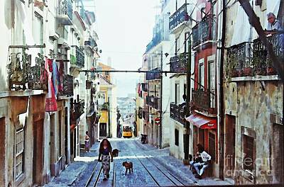 Awnings Digital Art - Lisboa Tram Route by Sarah Loft