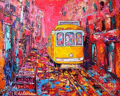 Old Tram Painting - Lisbon Impression by Ana Maria Edulescu