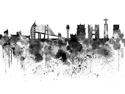 Lisbon Painting - Lisbon Skyline In Black Watercolor On White Background by Pablo Romero