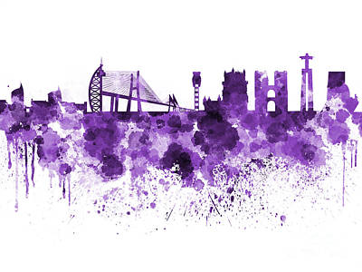 Lisbon Painting - Lisbon Skyline In Purple Watercolor On White Background by Pablo Romero