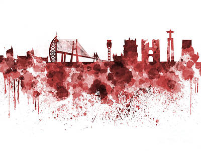 Lisbon Painting - Lisbon Skyline In Red Watercolor On White Background by Pablo Romero