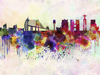 Splatter Digital Art - Lisbon Skyline In Watercolor Background by Pablo Romero