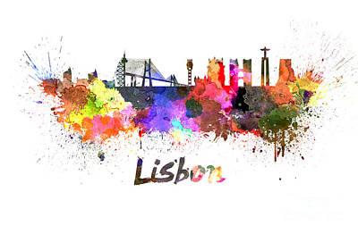 Lisbon Painting - Lisbon Skyline In Watercolor by Pablo Romero