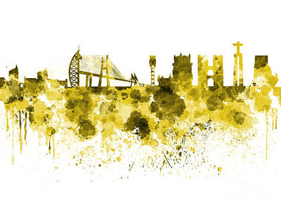 Lisbon Painting - Lisbon Skyline In Yellow Watercolor On White Background by Pablo Romero