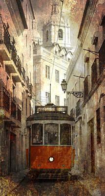Street Lamps Digital Art - Lisbon Streetcar by Daniel Hagerman