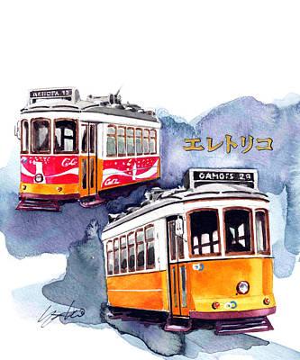Lisbon Painting - Lisbon Streetcar by Yoshiharu Miyakawa