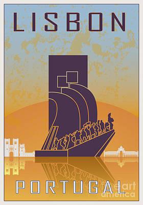 European City Digital Art - Lisbon Vintage Poster by Pablo Romero