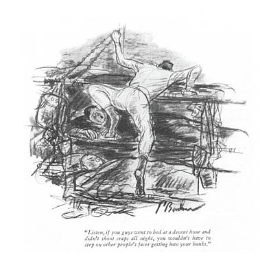 Bunk Drawing - Listen, If You Guys Went To Bed At A Decent Hour by Perry Barlow