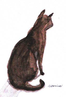 Moggy Painting - Listening by Angela Davies