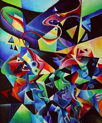 listening to piano concert op.42 of Arnold Schoenberg Art Print by Wolfgang Schweizer