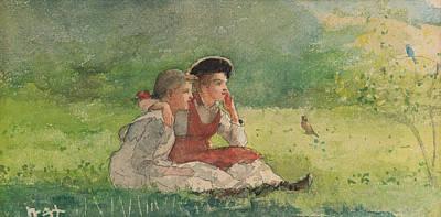 Winslow Homer Drawing - Listening To The Birds by Winslow Homer