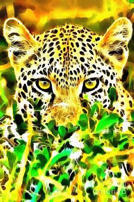 Painting - Lit Leopard by Catherine Lott