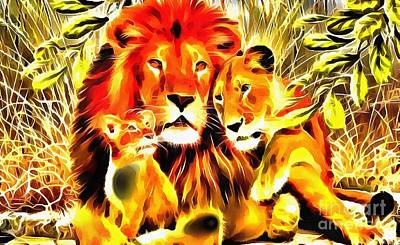 Painting - Lit Lion Family by Catherine Lott