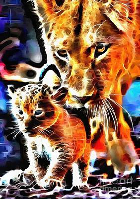 Impressionist Landscapes - Lit Lioness and Cub by Catherine Lott