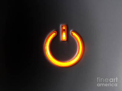 Stop Sign Photograph - Lit Power Button In Orange Color by Jose Elias - Sofia Pereira