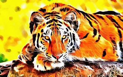 Painting - Lit Tiger Lounging by Catherine Lott