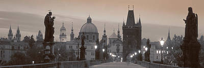 Czech Republic Photograph - Lit Up Bridge At Dusk, Charles Bridge by Panoramic Images