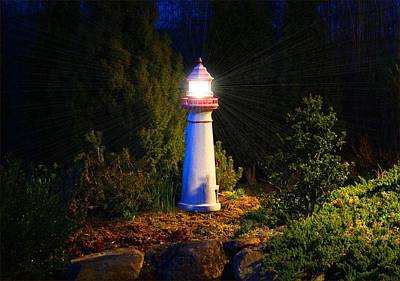 Photograph - Lit-up Lighthouse by Kathryn Meyer