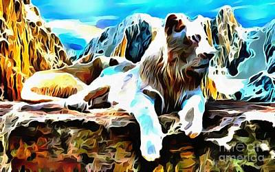 Painting - Lit White Lion by Catherine Lott