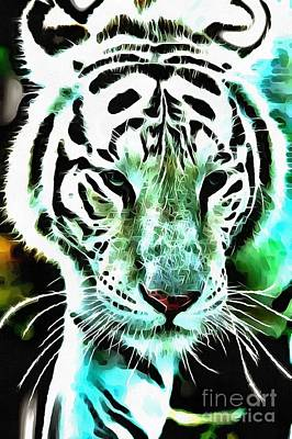 Digital Art - Lit White Tiger by Catherine Lott