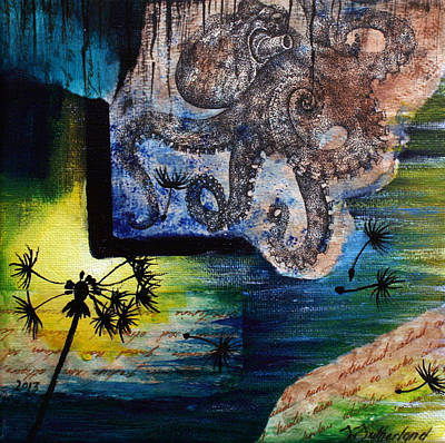 Octopus Painting - Literary Octopus by Sarah Sutherland
