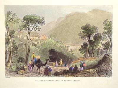 Mount Lebanon Drawing - Litho Print From 1836. Mount Lebanon. by Robert Birkenes