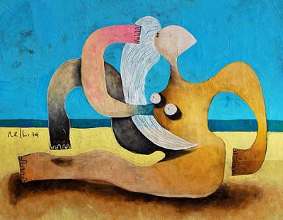 Woman On Beach Painting - Litore No 1 by Mark M  Mellon