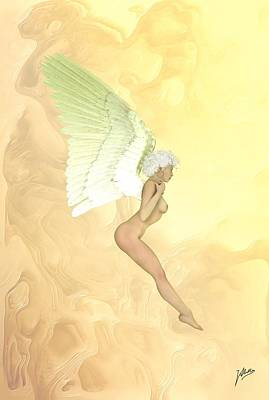 Artistic Nude Mixed Media - Little Angel Golden by Quim Abella