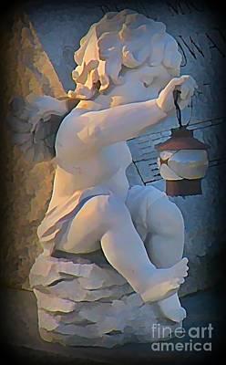 John Malone Art Work Digital Art - Little Angel With Lantern by John Malone
