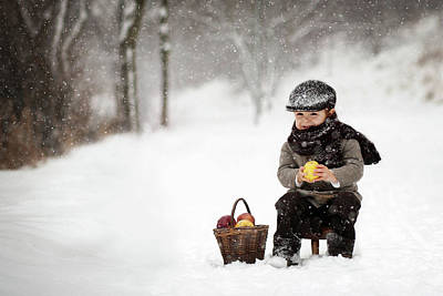 Snowfall Photograph - Little Apple Seller by Tatyana Tomsickova