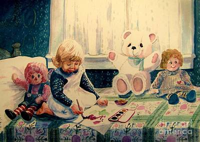 Teddy Bear Watercolor Painting - Little Artist by Marilyn Smith