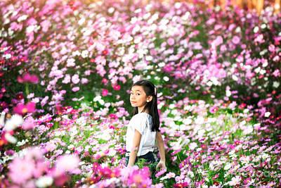 Little Asian Girl In A Garden Art Print