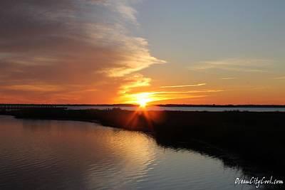 Photograph - Little Assawoman Bay Wetland Sunset by Robert Banach