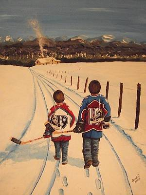 Minor Hockey Painting - Little Av's by Ron  Genest