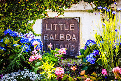 Little Balboa Island Sign In Newport Beach California Art Print