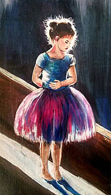 Blue And Pink Dance Painting - Little Ballarina by Gretchen  Smith