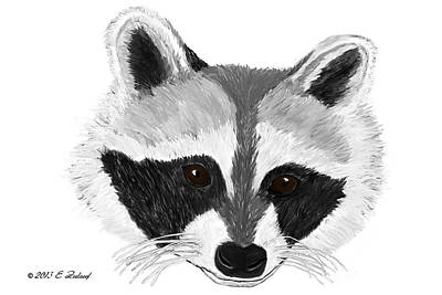 Digital Art - Little Bandit - Raccoon by Elizabeth S Zulauf