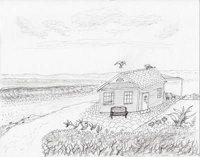 Drawing - Little Beach Cottage by Jim Taylor