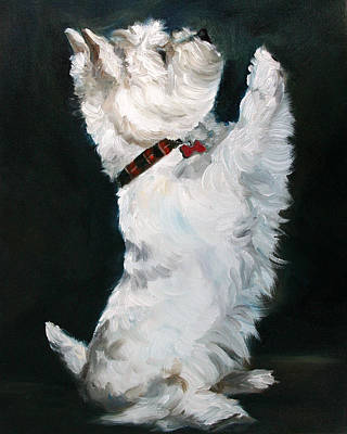 Westie Dog Painting - Little Beggar by Mary Sparrow