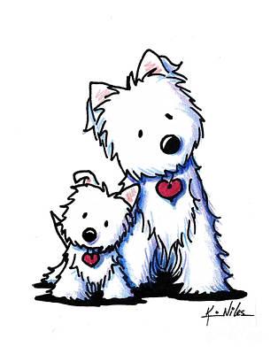 Westie Terrier Drawing - Little Big Buds by Kim Niles