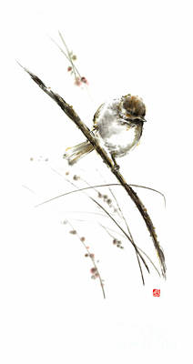 Little Bird On Branch Watercolor Original Ink Painting Artwork Original by Mariusz Szmerdt