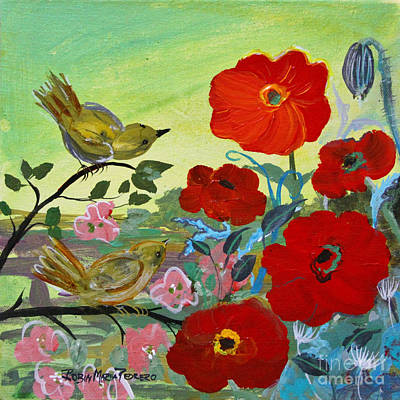 Painting - Little Birds And Poppies by Robin Maria Pedrero