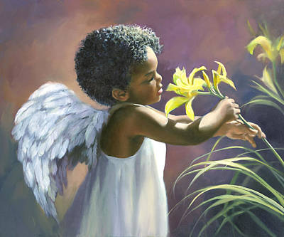 Yellow Flowers Painting - Little Black Angel by Laurie Hein