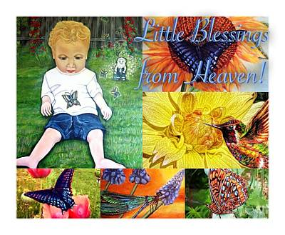 Little Blessings From Heaven Collage Art Print