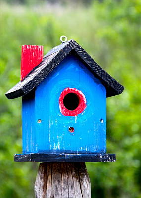 Photograph - Little Blue Birdhouse by Karon Melillo DeVega